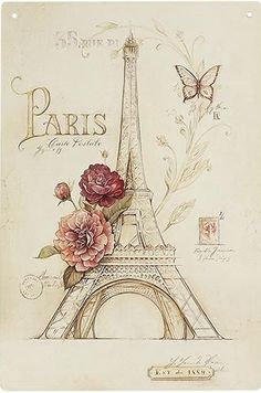 Eiffel Tower Decoupage Paper Napkins Paris France Napkin For Decoupage Vintage Distressed Flowers Butterflies Words Postage Decoupage Vintage, Decoupage Paper, Images Vintage, Vintage Pictures, Vintage Postcards, Paris Pictures, Paris Torre Eiffel, Paris Eiffel Tower, Tour Eiffel