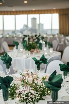 Wedding centerpiece ideas - green, emerald, candles, indoor, reception, greenery {Laura Nichole} Centerpiece Ideas, Wedding Centerpieces, Table Decorations, Elegant Wedding, Fall Wedding, Wedding Themes, Wedding Photos, Metallic Decor, Iowa