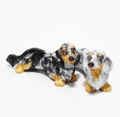 Dachshund Long Hair Dog Lover Figurine Salt Pepper Shaker Art Crafts
