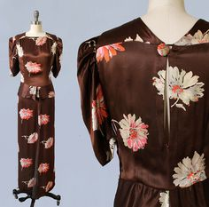 1930s brown satin dress