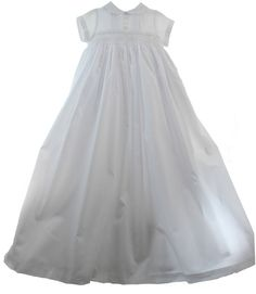 052b785ac0bd Boys White Christening Baptism Gown   Hat Set with Smocking