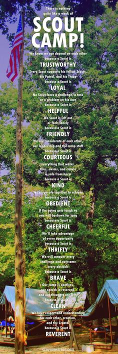 While the twelve points of the Scout law at summer camp isn't different than the Scout law anywhere else the week we spend together in the . - DIY Home Project Tiger Scouts, Wolf Scouts, Cub Scouts, Girl Scouts, Boy Scout Troop, Scout Mom, Scout Leader, Beaver Scouts, Eagle Scout Ceremony
