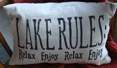 Red Tin Inn drop cloth pillow lake rules Silhouette Cameo...freezer paper..Stencil upcycle...