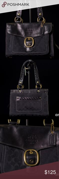 Coach Bleeker 11435 Buckle Flap Tote Authentic Coach shoulder handbag in a classic black leather with the signature Coach jacquard fabric. It has brass toned hardware and gold toned feet. This bag will hold a lot due to its depth and the wide opening. The straps have a unique braided detail.   // NOTES: Good used condition. Please see photos for best depiction. Feet have minor wear (as seen in photos). Coach Bags Totes