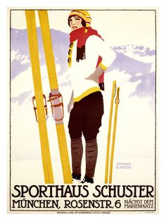 vintage ski poster for Sporthaus Schuster sporting goods store in Munich