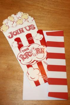 Movie Theme Party-Popcorn Invites. -Event advertising tip for outdoor movie party from Southern Outdoor Cinema