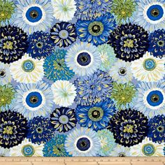 Michael Miller Valencia Dahlia Mix Blue Metallic from @fabricdotcom  Designed by Laura Gunn for Michael Miller, this nature inspired cotton print fabric is perfect for quilting, apparel and home decor accents. Colors include shades of blue, green and brown with gold metallic accents.