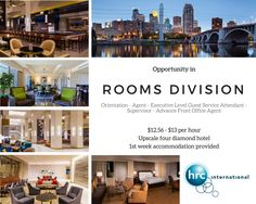 Amazing Rooms Division career opportunity at this 4* hotel! Rotate through positions such as Front Desk Agent, Executive Level Guest Services Attendant, Housekeeping Supervisor and Advanced Front Office Agent!   Only dedicated hospitality professionals wanted for this position. Do not miss out on this fantastic career opportunity and apply right now!
