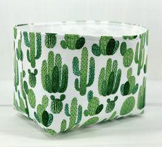 Cactus Organizer Basket Fabric Storage Bin Organizer Basket | Etsy Trash Can For Car, Car Trash, Cactus Fabric, Fabric Storage Baskets, Bohemian Flowers, Green Cactus, Housewarming Party, Shades Of Green, House Warming