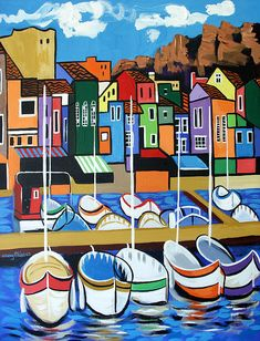 """Pier One"" Beautiful Museum Quality Limited edition Signed And Number By Internationally American Artist Anthony Falbo Boat Painting, Fabric Painting, Cubism Art, Silk Art, Naive Art, Pretty Art, Acrylic Art, Painting Inspiration, Watercolor Art"
