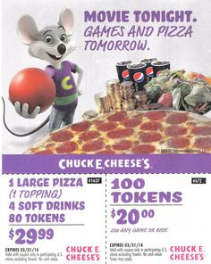 Chuck E Cheese Coupons Chuck E Cheese Printable Coupons May 2018