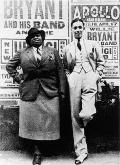 American blues singer Gladys Bentley - poses with bandleader Willie Bryant - outside the Apollo Theater where posters advertise a performance by Bryant & his band, New York, New York, April (Photo by Frank Driggs Collection/Getty IMages) (Harlem Harlem Renaissance Artists, Drag Queens, Such Und Find, Portraits, African American History, Black People, Black Is Beautiful, Black History, Vintage Black