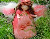 Peach Garden Angel -  Needle felted wool fairy angel standing Waldorf inspired by Rebecca Varon