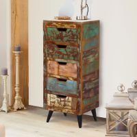 Buy the 5 Drawer Tallboy - Coastal Chic from Baumhaus today! A part of our Living Room Storage Furniture range. Reclaimed Timber, Reclaimed Wood Furniture, Painted Furniture, Furniture Ideas, Tallboy Chest Of Drawers, Walnut Bookcase, Small Sideboard, Recycled Wood, Bathroom Interior Design