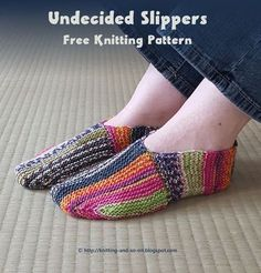 домашние тапочки спицами платочной вязкой. Всё связано плоско, нигде не по кругу. | Undecided Slippers - Free Knitting Pattern by Knitting and so on