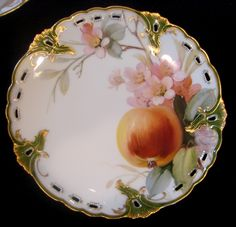 """German Set of 6 Reticulated Exceptional Artist Painted Fruit Plates 8.25"""" c 1900"""
