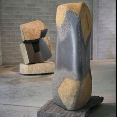 Noguchi Museum. Basalt. Rough and smooth stone sculpture.