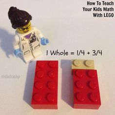 Use Legos to introduce kids to adding with fractions #math Math Strategies, Math Resources, Math Activities, Math For Kids, Fun Math, Math 2, Lego Math, Math Classroom, Math Fractions