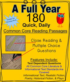 (Grade 5) A full year of grade five daily Common Core ELA practice. 180 different daily passages that cover inferences, details, theme, author's purpose, figurative language, and more topics are included to provide quick and convenient, daily Common Core review. Informational text, poetry, historical fiction, fantasy, thriller, realistic fiction, and plays are all included in this document.