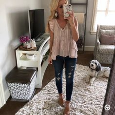 Stripes Ruffle Tank Top And Ripped Jeans