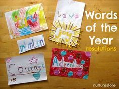 I love to start the new year with a resolution of some kind. In the past we've made a wish tree and wishing wands but today we decided to try something different. Combining art with good intentions we created our Words of the Year..