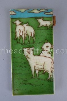 Charlotte Rhead tube-lined tile featuring a flock of Sheep 15.5 x 8cm - £480