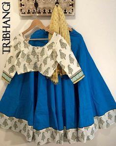 Turquoise blue and cream Jaipur block print gopi by Tribhangi