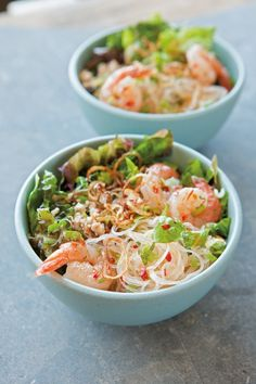 Glass-Noodle Salad with Shrimp, Chicken & Mint