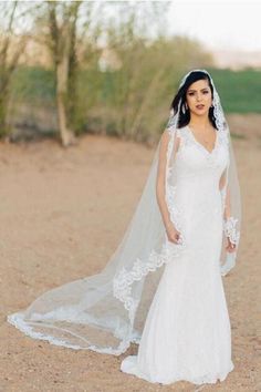 3 Meters Long Tulle Wedding Veil Lace Applique Edge