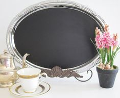 Catering tray with chalkboard paint. Cute!
