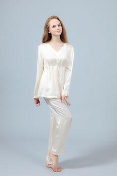 White Silk Pajama with Long Sleeves Silk Sleepwear bfa1ee5b8