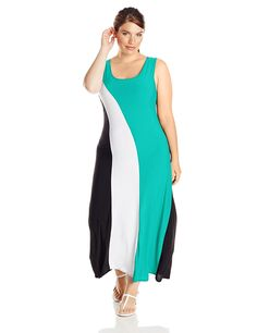 Star Vixen Women's Plus-Size Slice Color-Block Maxi Dress > If you love this, read review now : Evening dresses
