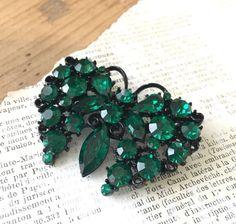 Vintage Lisner Rhinestone Butterfly Brooch Emerald Green