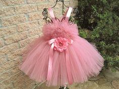 DUSTY ROSE.  Tutu Dress. Birthday Tutu Dress. Flower by ElsaSieron