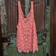 Coral Lace  Coral lace tank, good condition! Super cute with the jean jacket I have posted! Tops Tank Tops