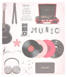 """Gift Guide: Music Lover"" by samanthas-polyvore ❤ liked on Polyvore featuring interior, interiors, interior design, home, home decor, interior decorating, Floyd, Mira Mikati, Crosley Radio & Furniture and Marshall"