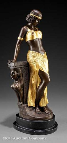 """An Art Deco-Style Gilt and Patinated Bronze Figure of a Harem Dancer, signed """"Milo"""""""