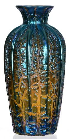 """10"""" Unmarked Durand """"Moorish Crackle"""" Art Glass Vase - Pale Amber Base Color With Highly Iridescent Blue Crackle Overlay  photo 1; photo 2; photo 3; photo 4;"""