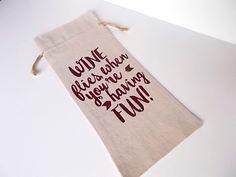 Wine Bottle Reusable Gift Bag, Stocking Stuffer, Funny Wine Lovers Bag, Linen Wine Bottle Bag by LadyInPurpleJewelry on Etsy