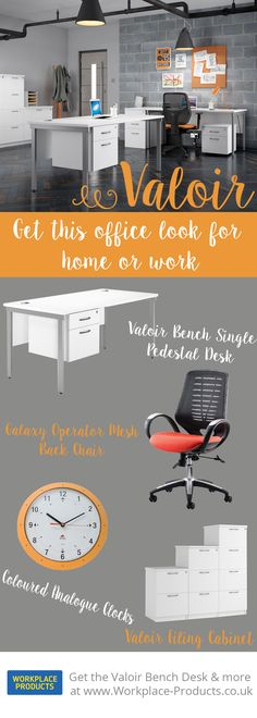 Get the Valoir look with Workplace Products. The perfect monochrome office with a pop of zesty orange! Modern and fun.  Single Pedestal Desk - £167  Galaxy Operator Chair - £180 Coloured Analogue Clocks - £22 Valoir Filing Cabinets - from £141