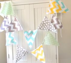 9 Feet Banner, 21 Flag Bunting, Mint Green Polka Dot, Aqua Blue, Grey, Yellow Chevron, Boy Baby Shower, Birthday Garland, Photo Prop. $32.00, via Etsy.