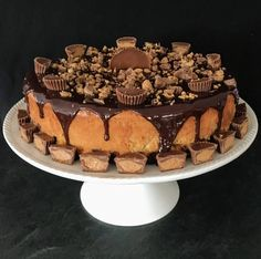 Peanut butter cheesecake with a brownie layer, chocolate ganache, and chopped peanut butter cups