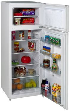 White Avanti Cubic Foot Apartment-size Refrigerator/Freezer with adjustable/ removable Glass Shelves & Door Bins, Reversible Doors (Left or Right Swing) Apartment Size Refrigerator, White Refrigerator, Compact Refrigerator, Top Freezer Refrigerator, Door Shelves, Door Storage, Glass Shelves, Log Home Interiors, Home