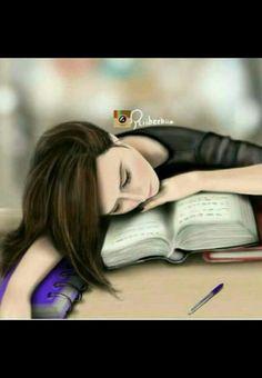 مللت من الدراسة 😕 Exam Pictures, Girly Pictures, Girly Drawings, Cute Animal Drawings, Pencil Drawings, Lovely Girl Image, Girls Image, Studying Girl, Sarra Art