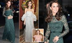 The Duchess of Cambridge, 35, stunned in in a green lace dress by Temperley London as she attended the 2017 National Portrait Gallery gala in London.