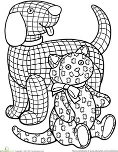 Worksheets: Color the Gingham Dog and the Calico Cat Illustration ideas for the poem The Duel By Eugene Field