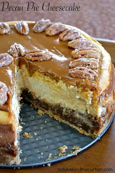 Pecan Pie Cheesecake:Cheesecake and pecan pie in one?  YES PLEASE! (Please click on the picture for the complete recipe with directions)