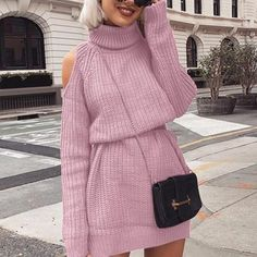 Casual Autumn Winter Streetwear Turtleneck Off Shoulder Knitted Sweater Dress for Women