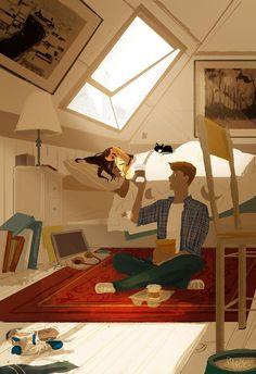 Pascal Campion「Early bird gets the latte(and the bagels)」 Couple Illustration, Illustration Art, Anime Chibi, Anime Art, Stock Design, Pascal Campion, Timberwolf, Couple Art, Amazing Art