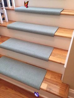 Palladian Touch of Teal 100% New Zealand Wool! RUE Bullnose™ Padded Carpet Stair Tread Runner Replacement Style Comfort & Safety (Sold Each)  <br>